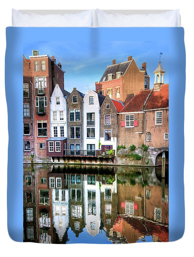 Dawn Duvet Cover featuring the photograph Rotterdams Delfshaven With His Historic by Aleksandargeorgiev