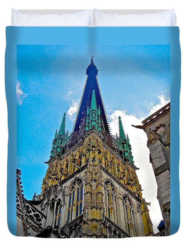 Churches Duvet Cover featuring the photograph Rouen Church Steeple by Tim G Ross