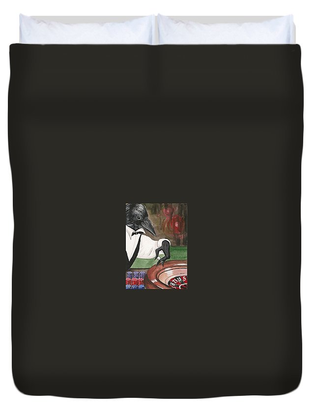 Print Duvet Cover featuring the painting Roulette by Margaryta Yermolayeva
