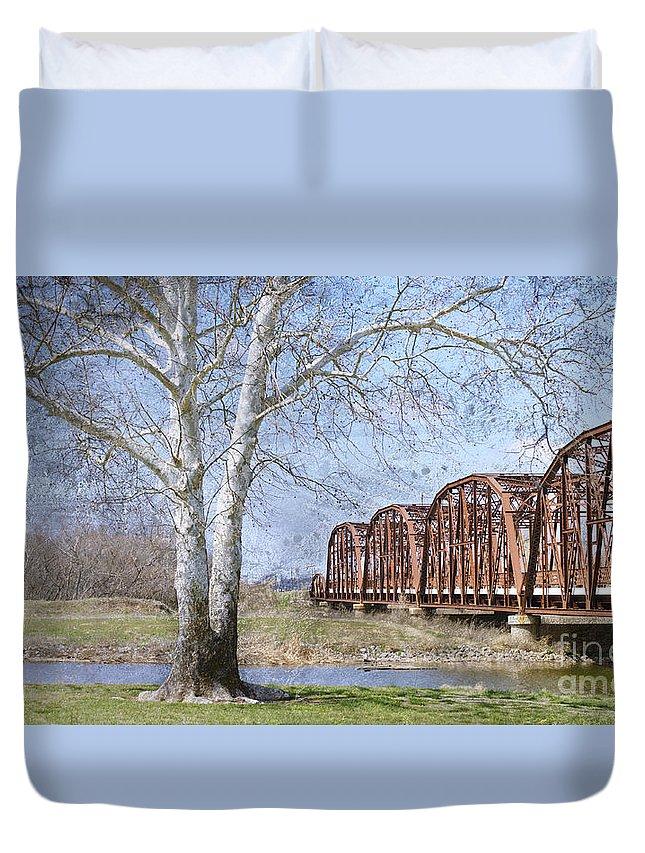 Route 66 Bridge Duvet Cover featuring the photograph Route 66 Bridge by Betty LaRue