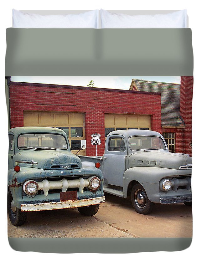 66 Duvet Cover featuring the photograph Route 66 Classic Cars by Frank Romeo