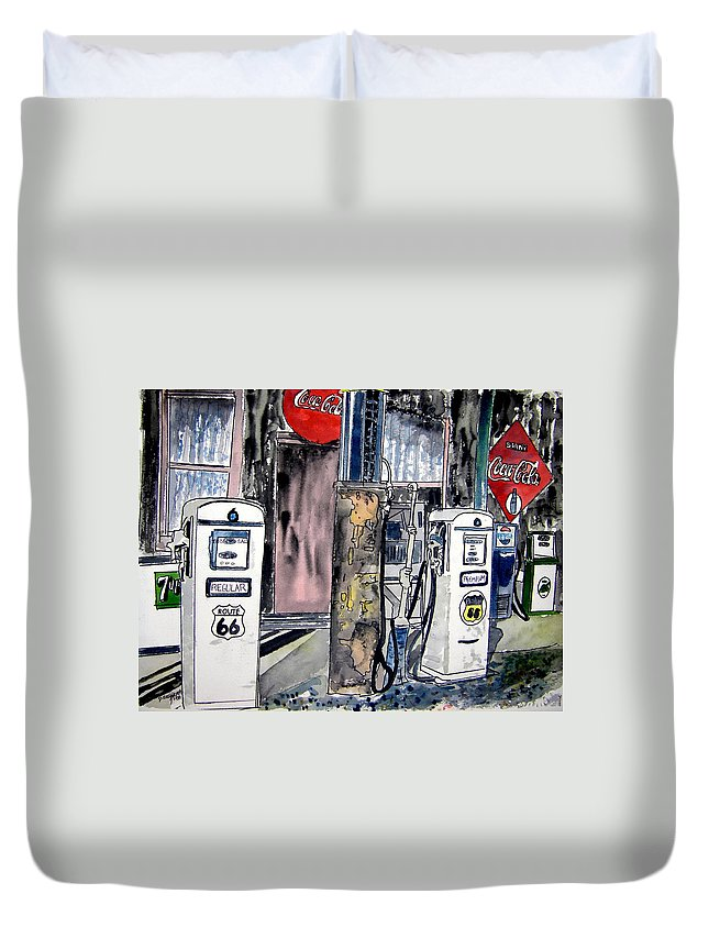 Watercolor Duvet Cover featuring the painting Route 66 gas station by Derek Mccrea