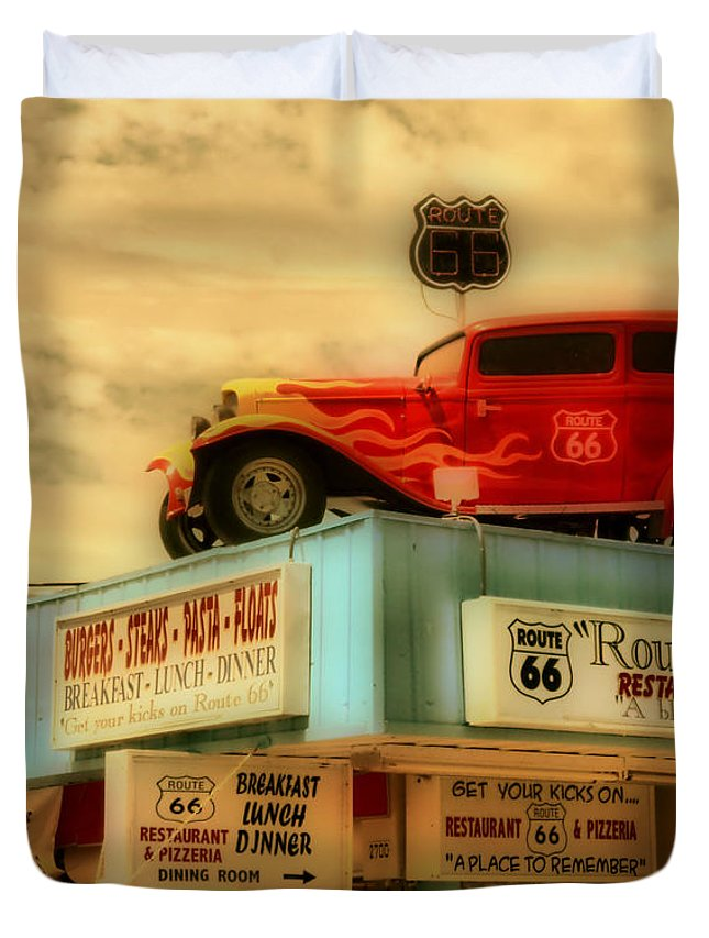 Hdr Duvet Cover featuring the photograph Route 66  Hdr by Thomas MacPherson Jr