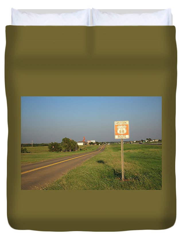 66 Duvet Cover featuring the photograph Route 66 - Oklahoma by Frank Romeo
