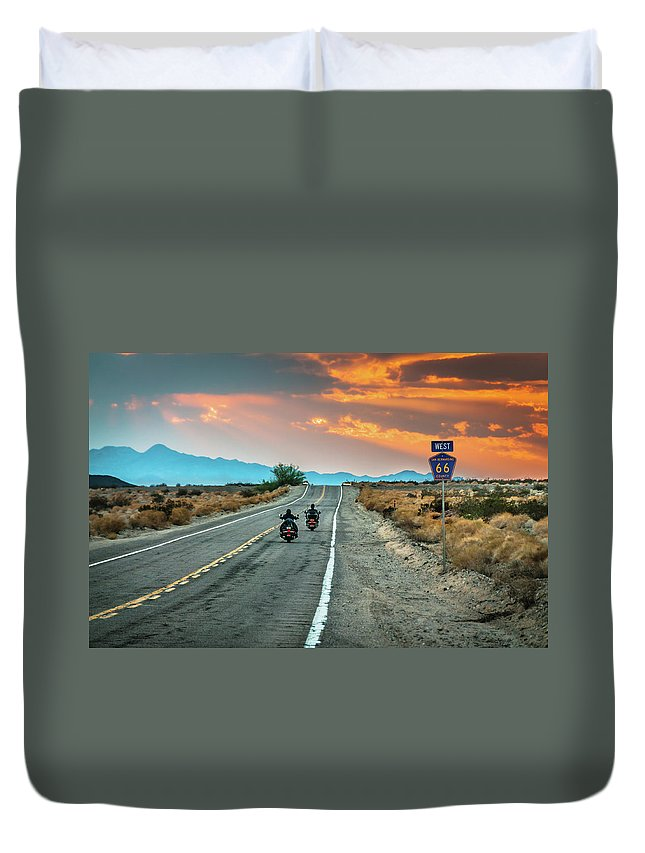 Grass Duvet Cover featuring the photograph Route 66 Riders by Sky Noir Photography By Bill Dickinson