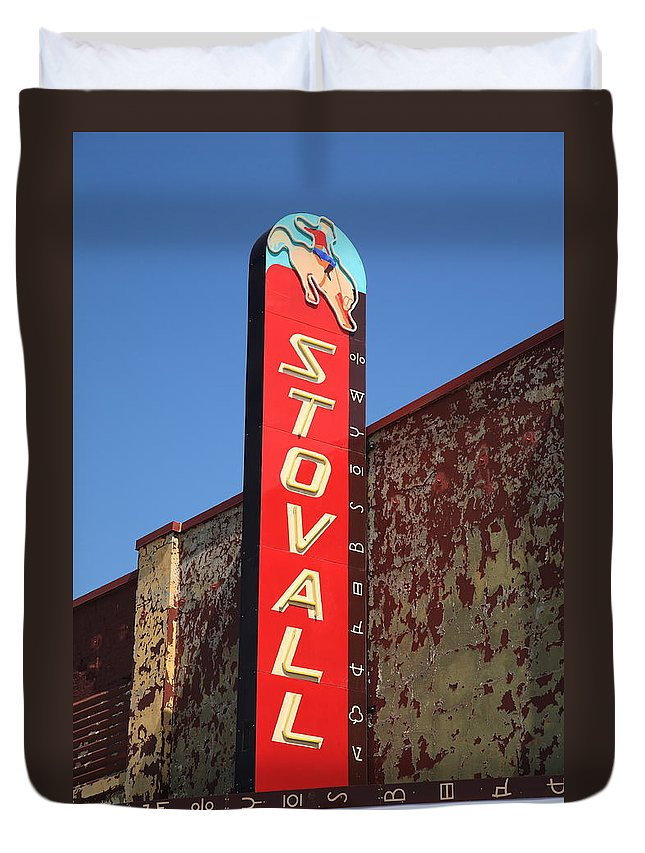 66 Duvet Cover featuring the photograph Route 66 - Stovall Theater by Frank Romeo