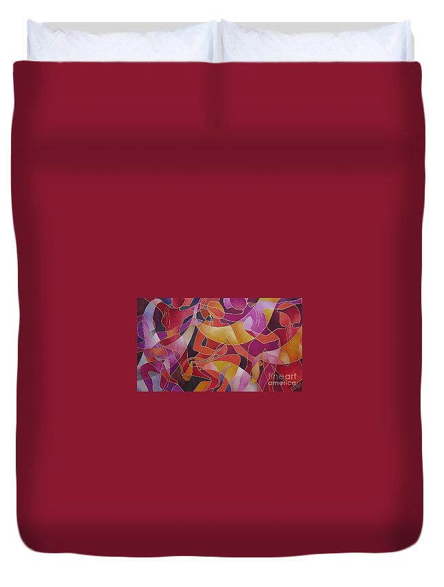 Fiji Islands Duvet Cover featuring the painting Rovati - The Welcoming by Maria Rova