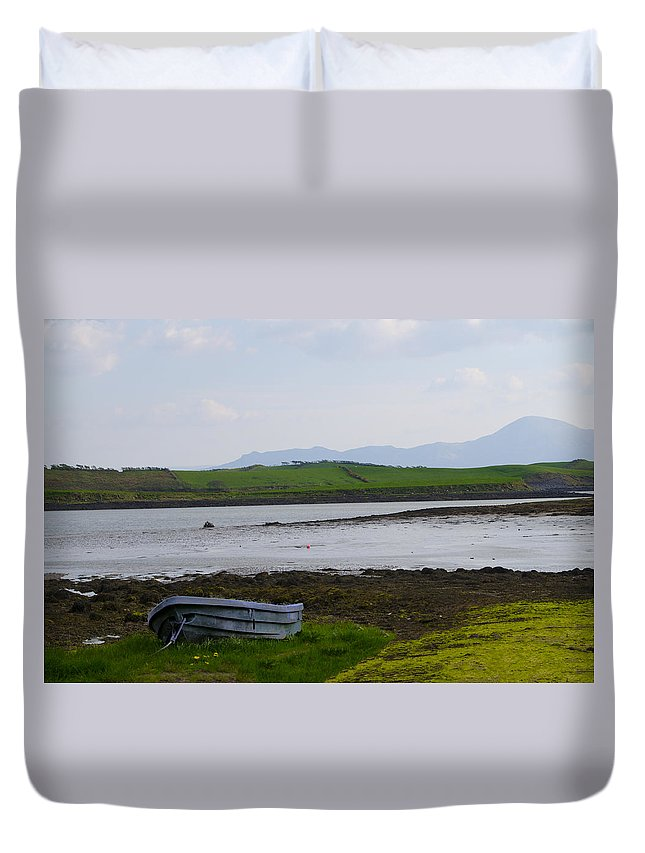 Row Duvet Cover featuring the photograph Row Boat At Low Tide - County Mayo Ireland by Bill Cannon
