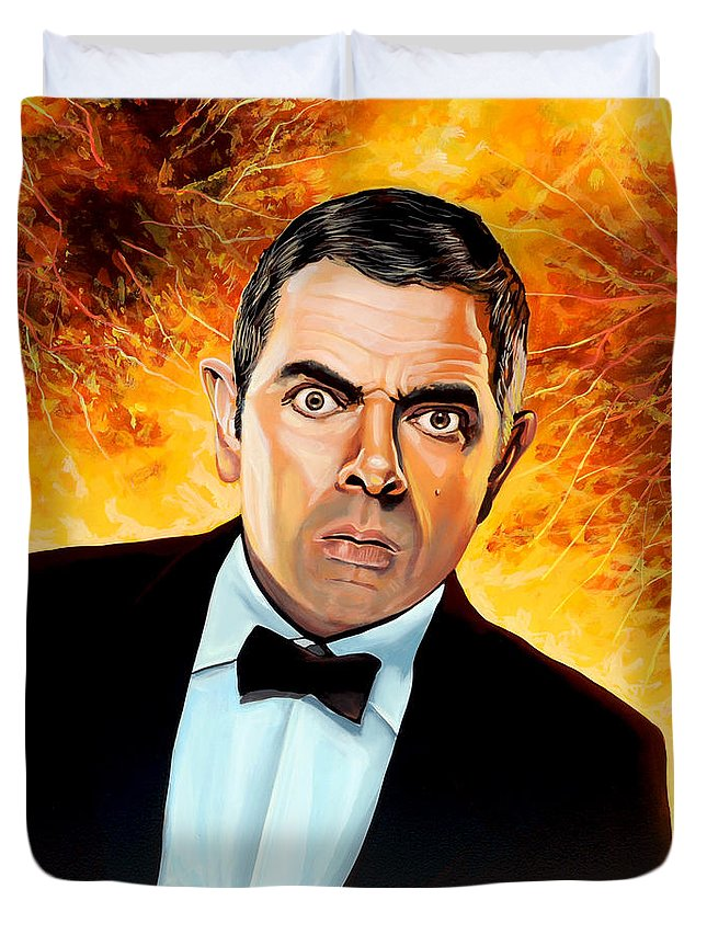 Rowan Atkinson Duvet Cover featuring the painting Rowan Atkinson alias Johnny English by Paul Meijering
