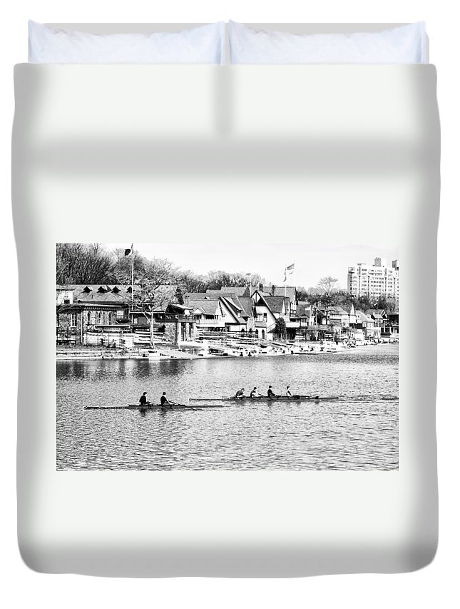 Rowing Duvet Cover featuring the photograph Rowing Along The Schuylkill River In Black And White by Bill Cannon