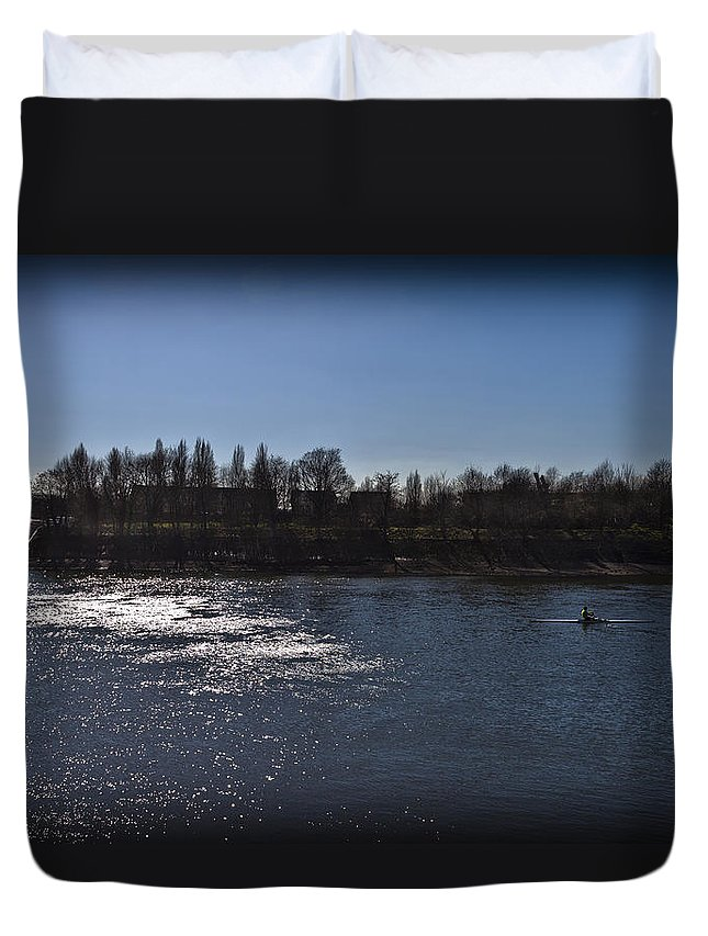 Rowing Duvet Cover featuring the photograph Rowing On Thames In Autumn by Maj Seda