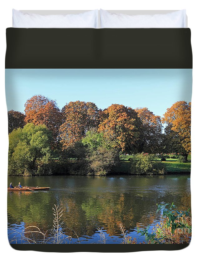 Autumn On The River Thames At Hampton Court Duvet Cover featuring the photograph Rowing On The River Thames At Hampton Court London by Julia Gavin