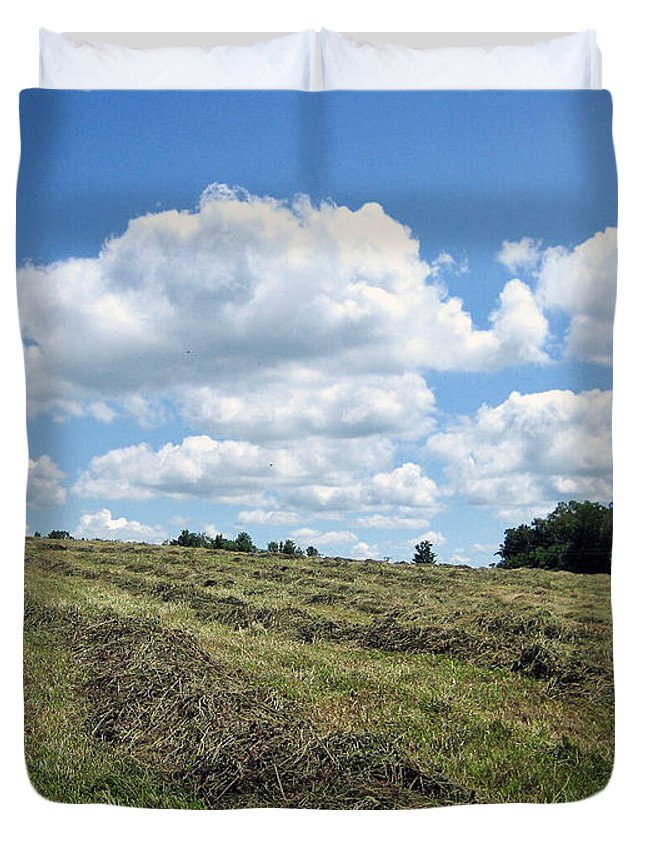 Field Duvet Cover featuring the photograph Rows by Mary Cloninger