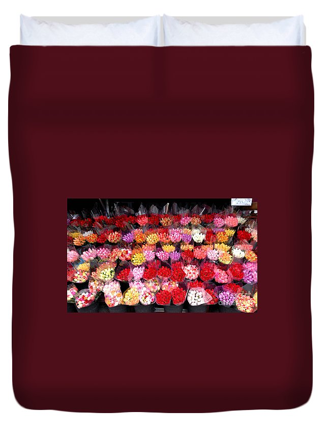 A Lot Duvet Cover featuring the photograph Rows Of Roses by Amy Cicconi