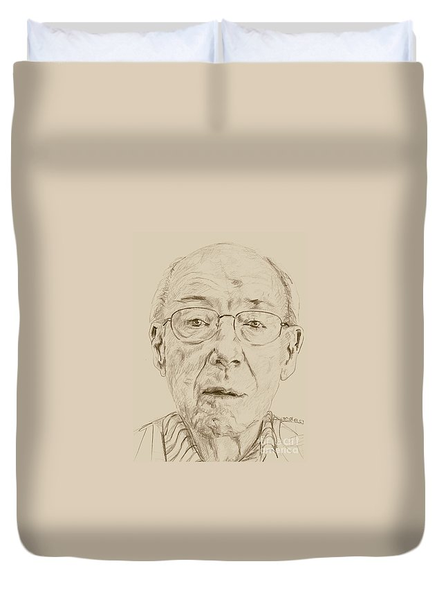 Memory Care Duvet Cover featuring the drawing ROY by PainterArtist FIN