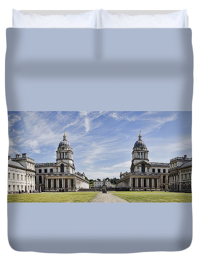 Royal Naval College Duvet Cover featuring the photograph Royal Naval College Courtyard by Heather Applegate