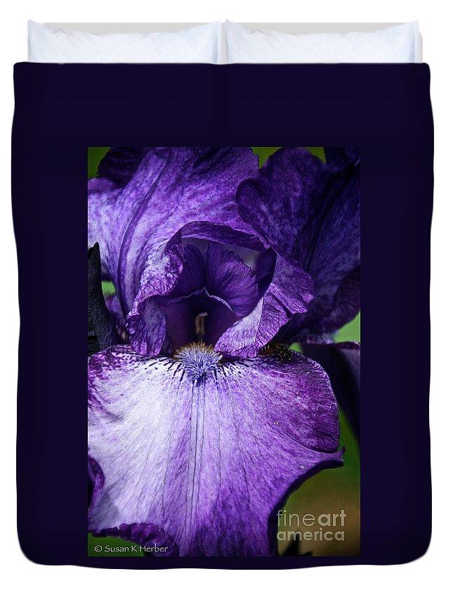 Flower Duvet Cover featuring the photograph Royale Purple Petals by Susan Herber