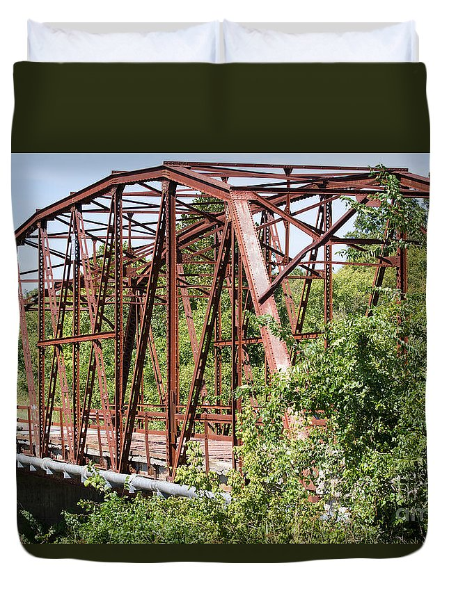Rt 66 Duvet Cover featuring the photograph Rt 66 Bridge In Oklahoma by Ashley M Conger