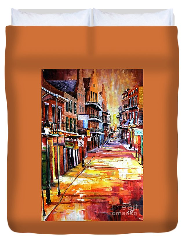 New Orleans Duvet Cover featuring the painting Rue Bourbon by Diane Millsap