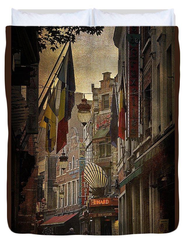 Joan Carroll Duvet Cover featuring the photograph Rue Des Bouchers by Joan Carroll