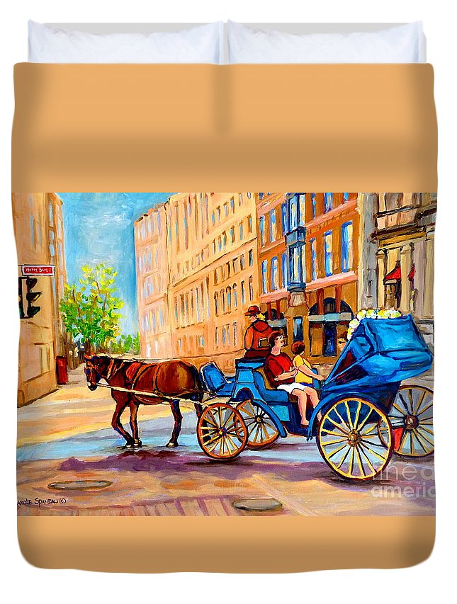 Rue Notre Dame Duvet Cover featuring the painting Rue Notre Dame Caleche Ride by Carole Spandau