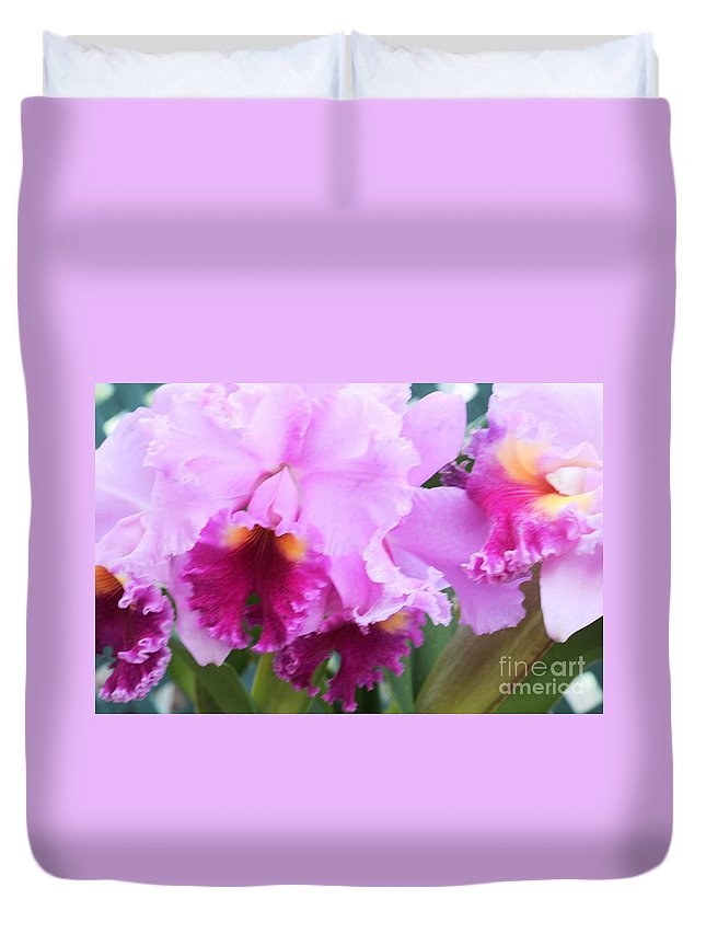 Orchid Duvet Cover featuring the photograph Ruffled Orchids by Kathleen Struckle