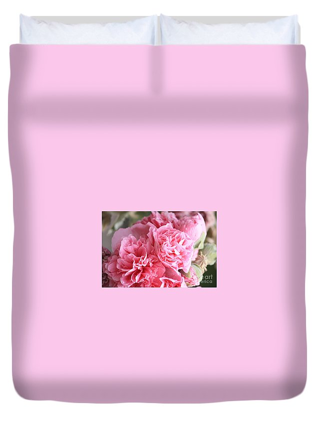 Double Hollyhock Duvet Cover featuring the photograph Ruffly Pink Hollyhock by Carol Groenen