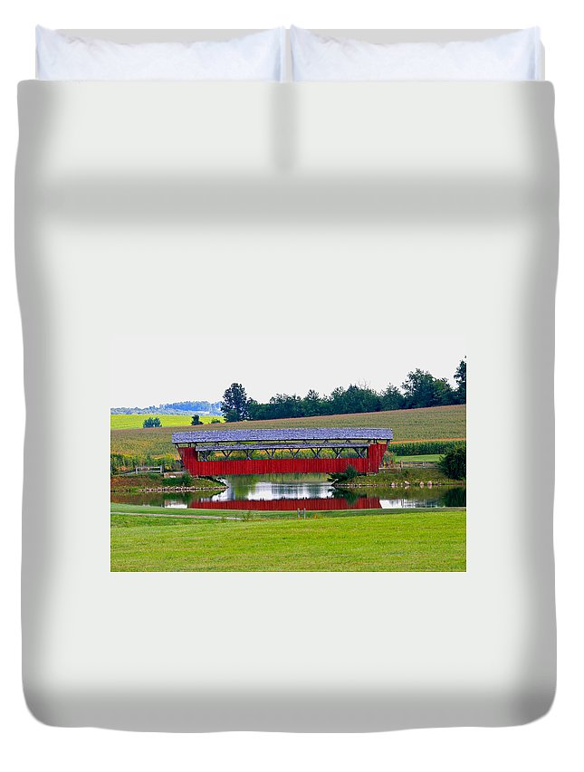 Architecture Duvet Cover featuring the photograph Ruffner Covered Bridge by Jack R Perry