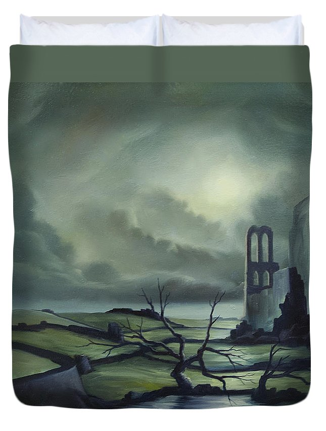 Ruins; Cityscape; Landscape; Nightmare; Horror; Power; Roman; City; World; Lost Empire; Dramatic; Sky; Red; Blue; Green; Scenic; Serene; Color; Vibrant; Contemporary; Greece; Stone; Rocks; Castle; Fantasy; Fire; Yellow; Tree; Bush Duvet Cover featuring the painting Ruins Of Cathedra by James Christopher Hill