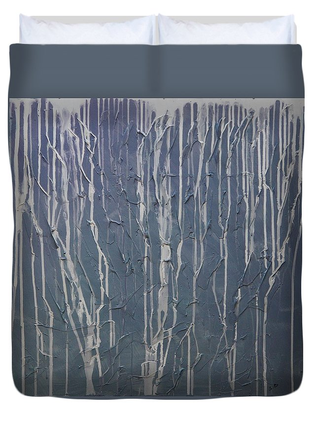 Abstract Duvet Cover featuring the painting Ruins by Sergey Bezhinets