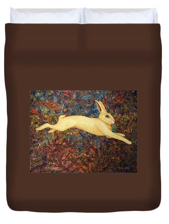 Rabbit Duvet Cover featuring the painting Running Rabbit by James W Johnson