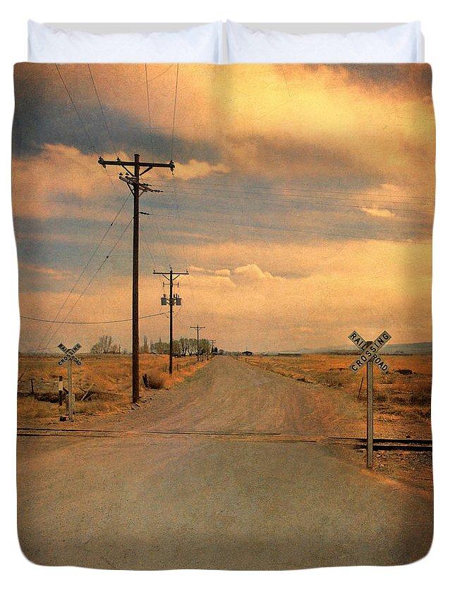 Road Duvet Cover featuring the photograph Rural Railroad Crossing by Jill Battaglia