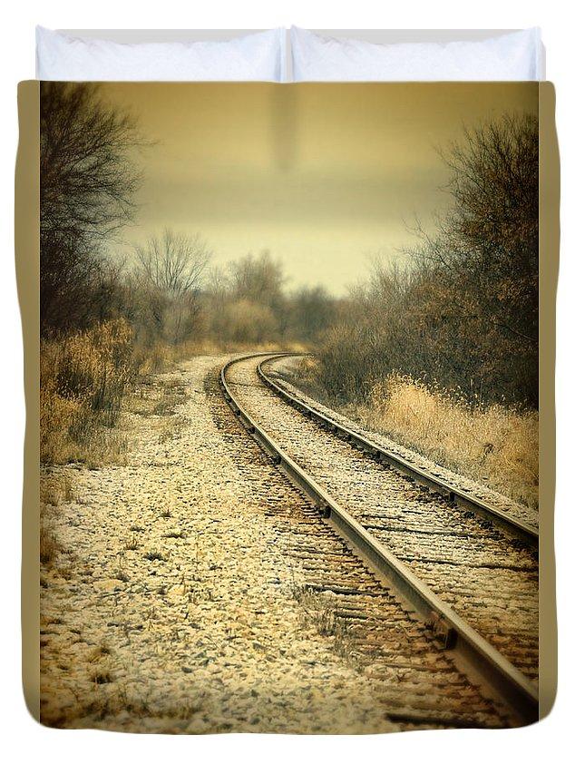 Train Duvet Cover featuring the photograph Rural Railroad Tracks by Jill Battaglia