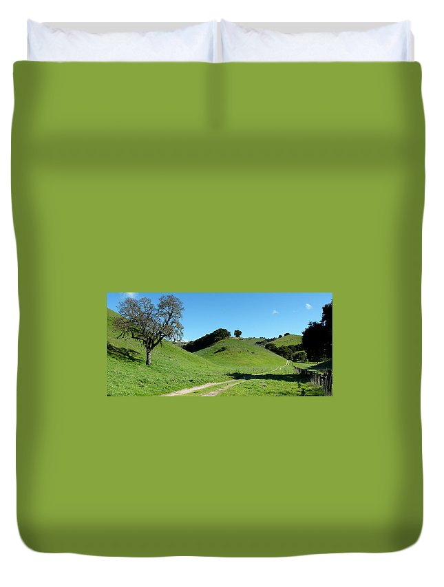 Rural Duvet Cover featuring the photograph Rural Rolling California Hills by Jeff Lowe