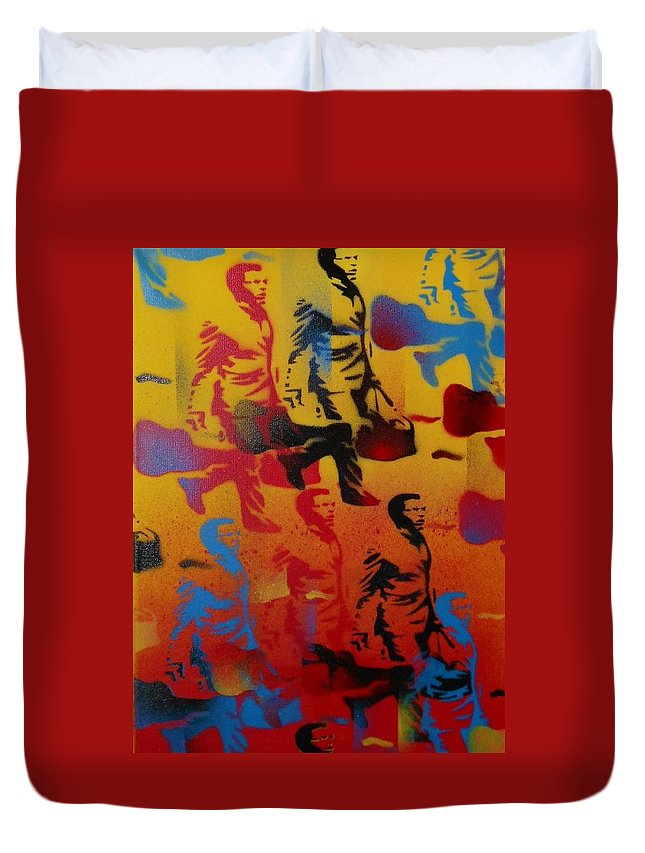 Guitar Case Duvet Cover featuring the painting Rush Hour by Leon Keay