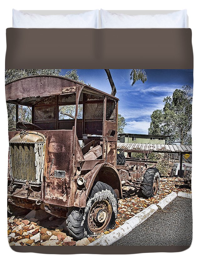 Vintage Duvet Cover featuring the photograph Rustbucket V5 by Douglas Barnard