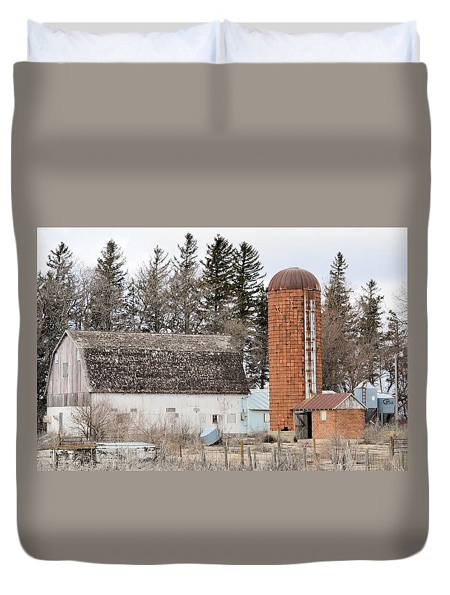 Silo Duvet Cover featuring the photograph Rusted And Brown by Bonfire Photography