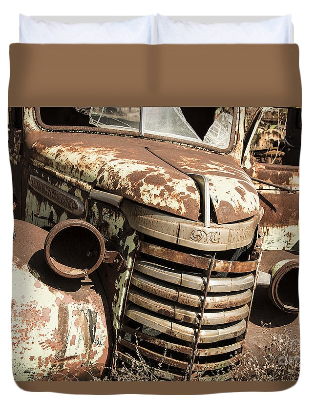 Rusty Duvet Cover featuring the photograph Rusted Pickup by Rob Hawkins