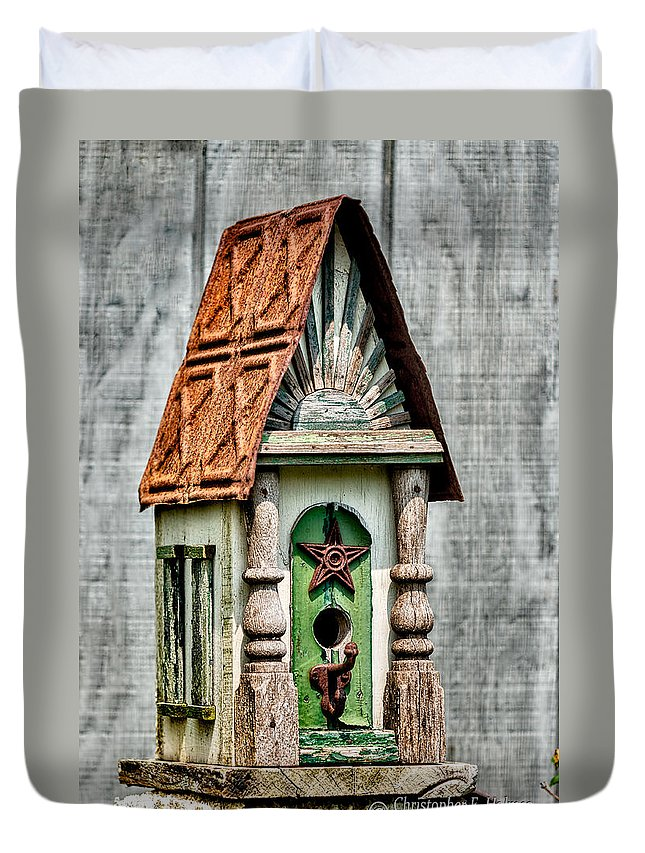 Bird House Duvet Cover featuring the photograph Rustic Birdhouse by Christopher Holmes