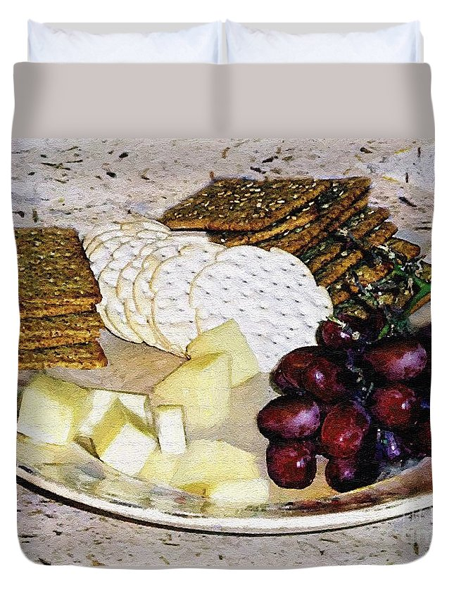 Cheese Duvet Cover featuring the painting Rustic Repast by RC DeWinter