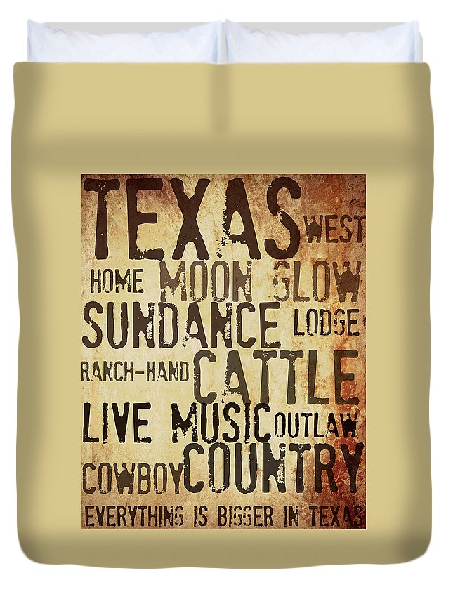 Texas Art Duvet Cover featuring the mixed media Rustic Texas Art by Chastity Hoff