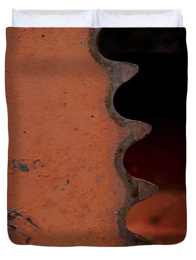Gear Duvet Cover featuring the photograph Rusting Orange Gear  #0007 by J L Woody Wooden