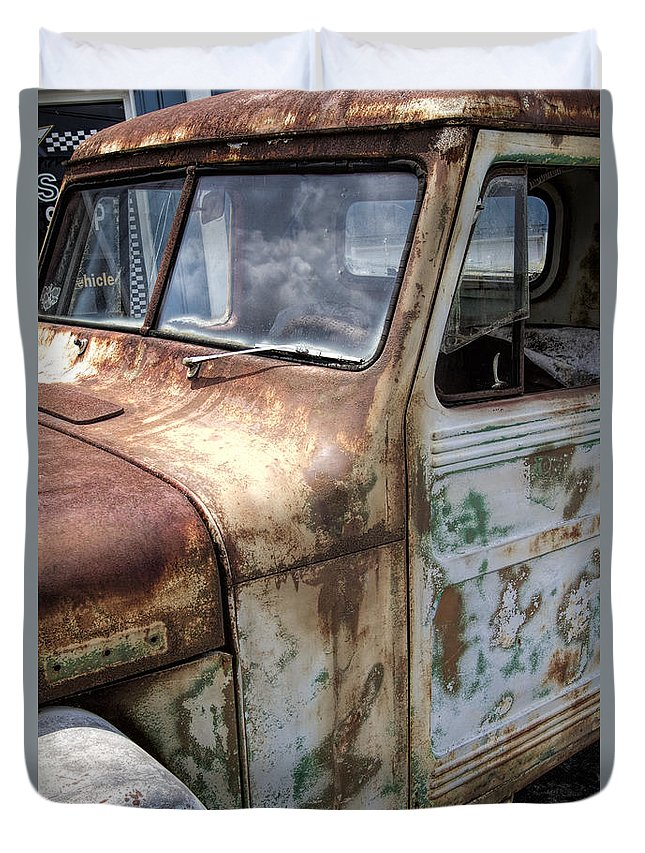 Willy's Duvet Cover featuring the photograph Rusty Classic Willy's Jeep Pickup by Kathy Clark