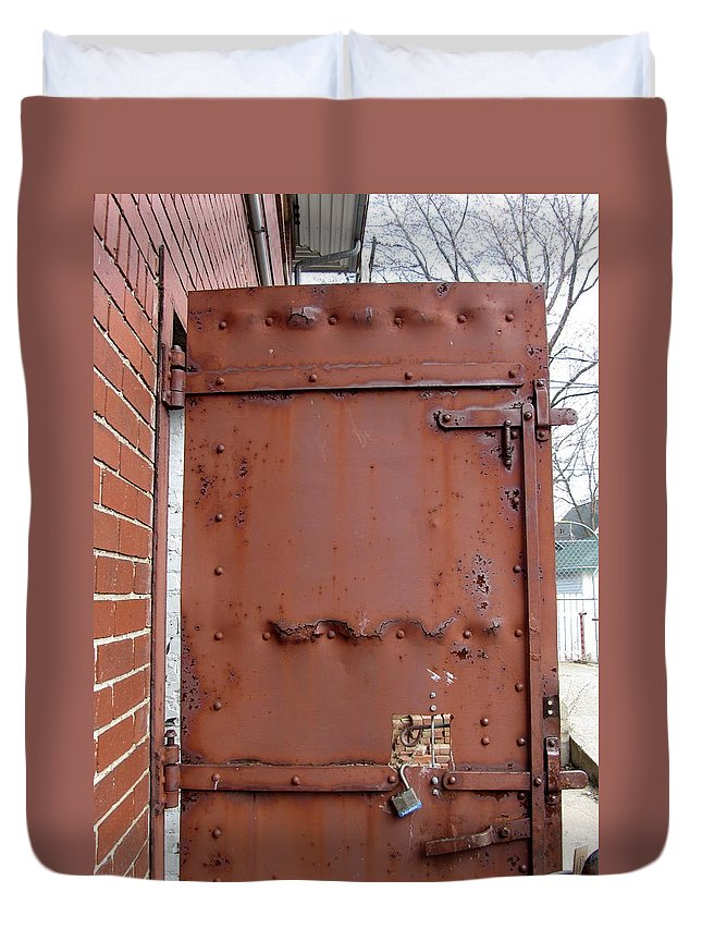 Door Duvet Cover featuring the photograph Rusty Door 1 by Anita Burgermeister