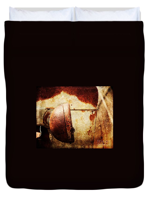Rust Duvet Cover featuring the photograph Rusty Headlamp by Pam Holdsworth