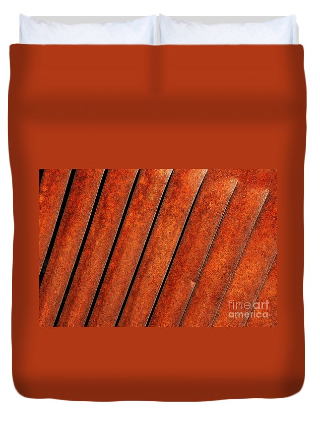 Rust Duvet Cover featuring the photograph Rusty Hood Louvers by Vivian Christopher