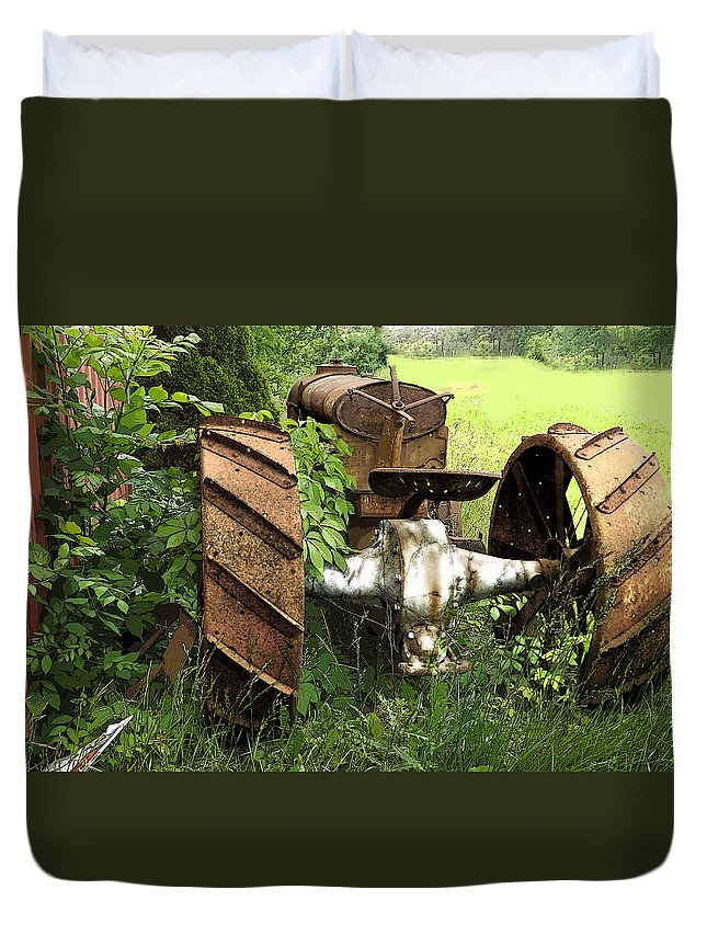 Rust Duvet Cover featuring the photograph Rusty Tractor 1 by Joyce Wasser