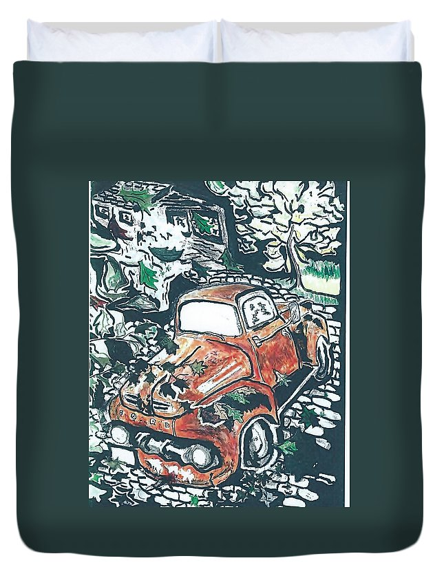 Truck Time Forgot Duvet Cover featuring the drawing Rusty Truck by Richard Mangino
