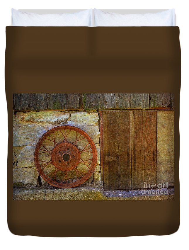 Rusty Wheel Duvet Cover featuring the photograph Rusty Wheel by Luther Fine Art