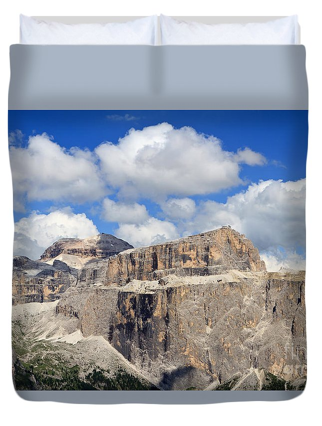 Alpine Duvet Cover featuring the photograph Saas Pordoi And Piz Boe' Mount by Antonio Scarpi
